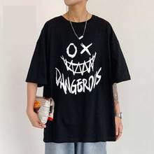 Smile Print Tshirt Graffiti Hip Hop Streetwear T Shirts Harajuku Cotton Casual Tees Tops Drop Shippi