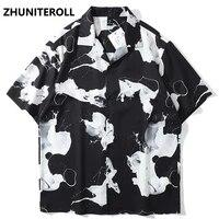 2021 harajuku summer hawaiian beach shirts print hip hop button shirt mens fashion casual short sleeve holiday party blouse tops