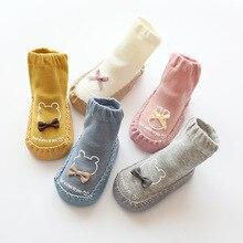 Bébé chaussette chaussures nouveau-né bébé chaussettes hiver épais Terry coton bébé fille chaussette avec semelles en caoutchouc infantile Animal drôle chaussette 2020 nouveau