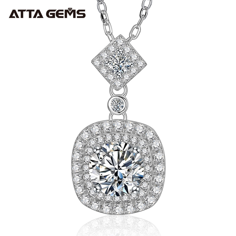 Get ATTAGEMS Cushion Pendant Necklace 925 Sterling Silver 1ct 6.5mm D Moissanite Diamond Test Passed Fine Jewelry Woman Girl Gift