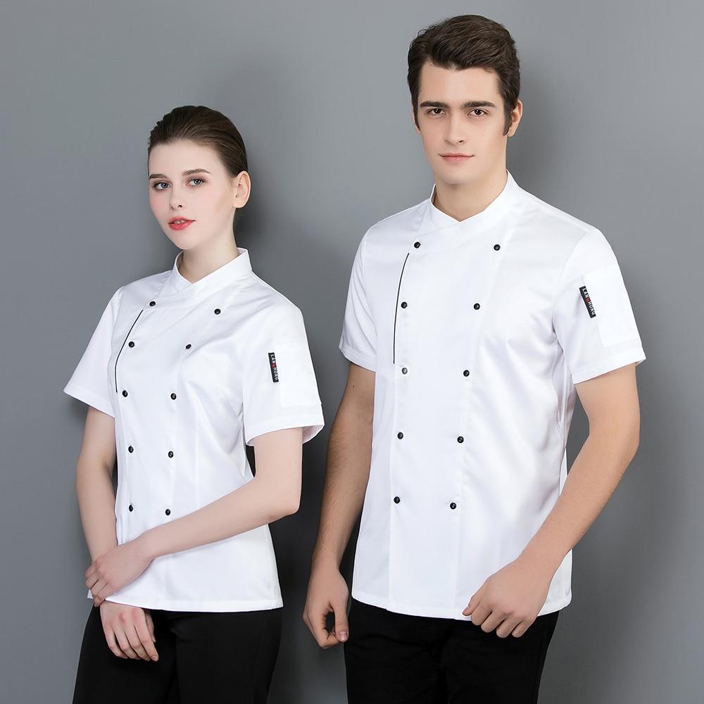 Оптовая Продажа унисекс кухонный нож шеф повара Ресторан повара с короткими рукавами рубашка для мужчин шеф-повара из дышащего материала о...