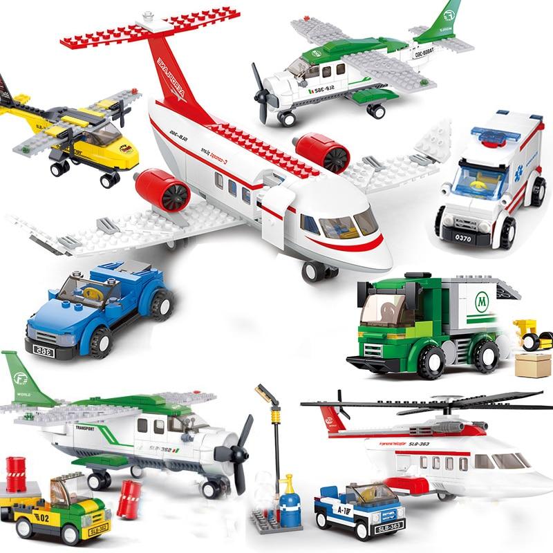 Ciudad avión pasajeros establece amigos Terminal aeropuerto estación Kits helicóptero modelo bloques de construcción niños juguetes de construcción