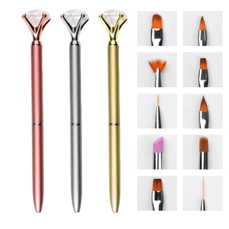 10pc conjunto de escova de caneta de arte do prego substituir cabeca metal diamante