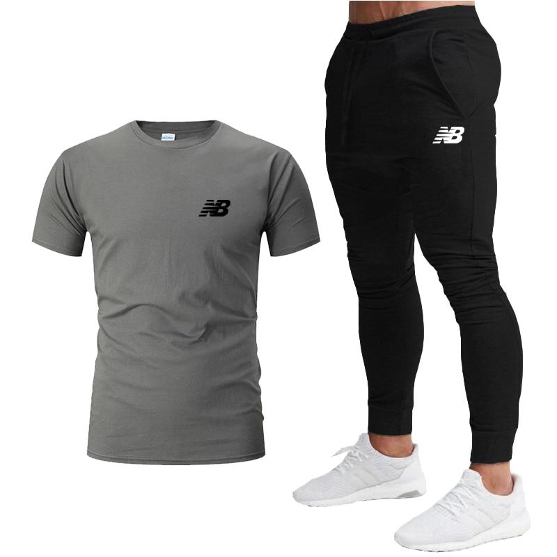 Мужская повседневная одежда, лето 2022, Мужская брендовая спортивная одежда, костюм для фитнеса, одежда для бега, Повседневная футболка + спор...