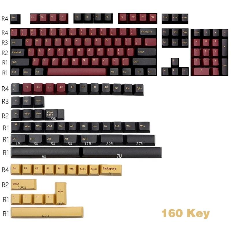 P82F 160 مفاتيح الكرز الشخصي الأحمر الساموراي Keycap مزدوجة النار سميكة PBT كيكابس ل MX التبديل الميكانيكية لوحة المفاتيح Keycap