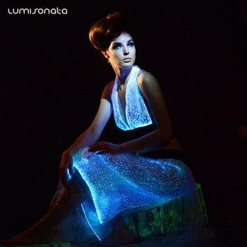 Summer Time Fashion Optic Fiber Luminous Women Night Club Rave Halter Top Light Up Costume Party Dancing Bra