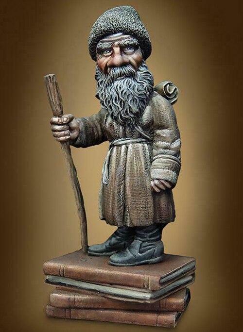 1/32 54mm hombre antiguo con bigote largo figura de resina modelo miniatura gk desmontaje sin pintar