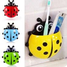 Cartone animato bagno dentifricio scatola di immagazzinaggio coccinella portaspazzolino aspirazione a parete animale porta dentifricio accessori contenitore