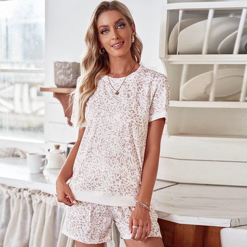 Женская пижама с коротким рукавом Shiying, летняя Удобная тонкая Домашняя одежда, домашняя одежда с леопардовым принтом и губами, комплект из д...