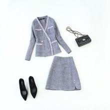 Women Clothes Womens Autumn and Winter New Large Size Woolen Herringbone Shirt Jacket Half-length A Word Skirt Suit Women