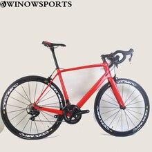 2020 700C winowsports complet carbone vélo de route 49/52/54/56/58cm Double V frein tout carbone course vélo assorti tige de selle