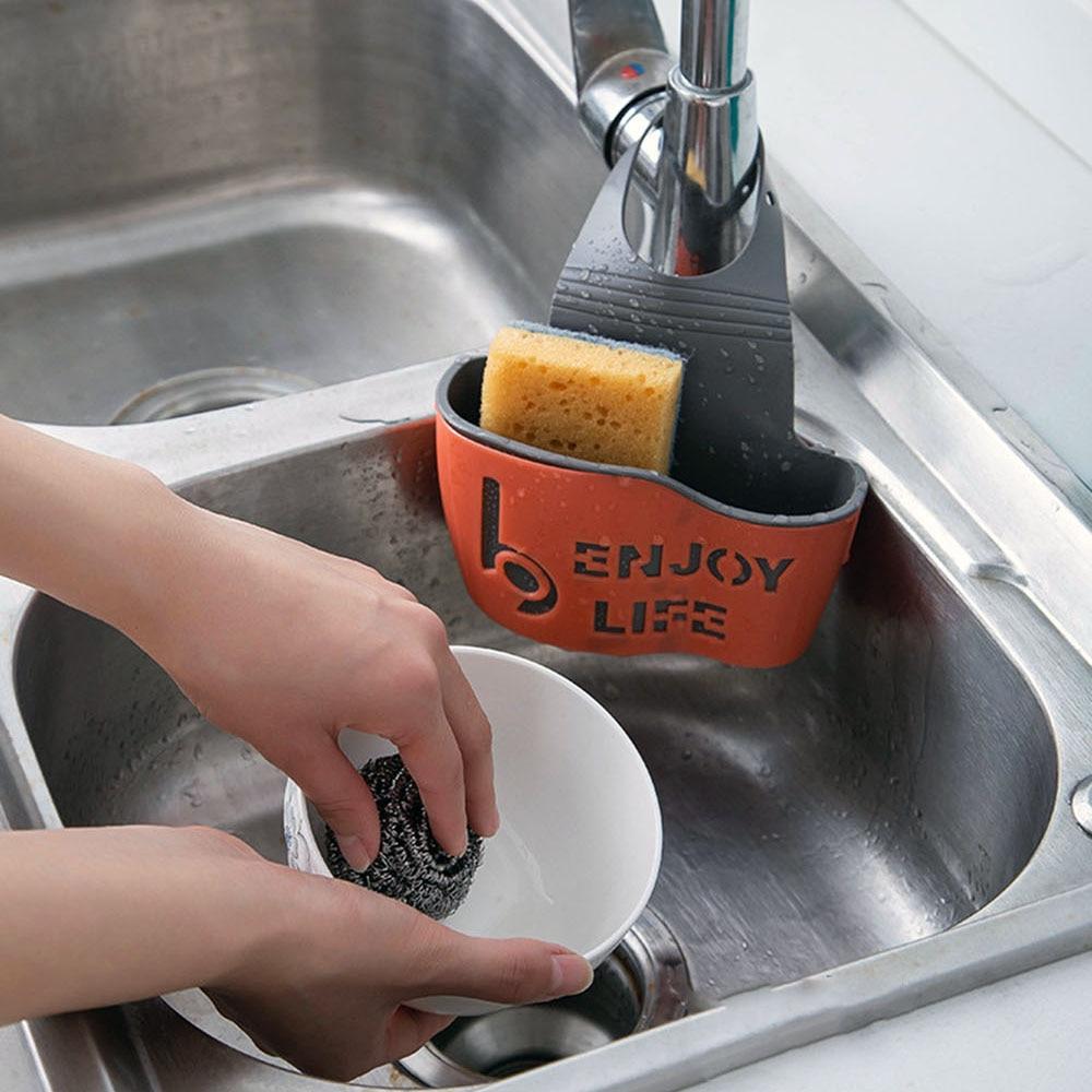 Adorehouse pia dreno rack de borracha pia drenagem cesta esponja titular armazenamento ajustável prateleiras do banheiro pia da cozinha organizador