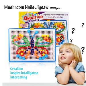 296PCS Mushroom Nail DIY Handmade Toys Children Educational Toys Children Intelligent 3D Puzzle Game Jigsaw Board Gifts