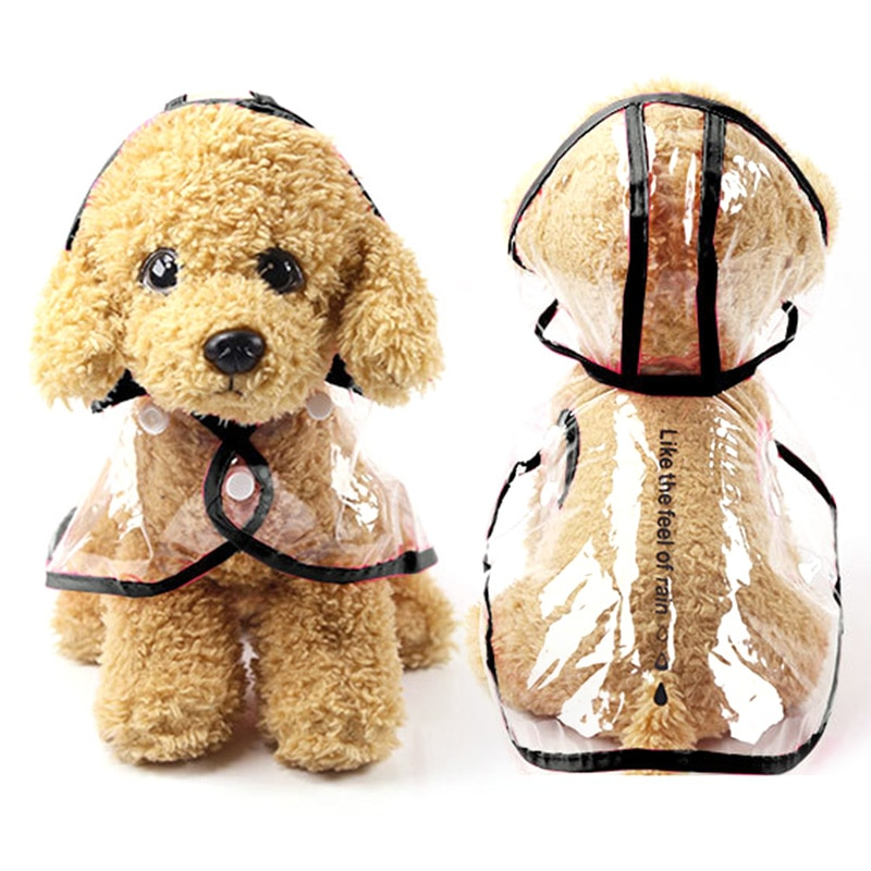 Pet Jacket Dog Transparent Raincoat Adjuastable Waterproof Coat For Small Medium Large Dogs Hooded W