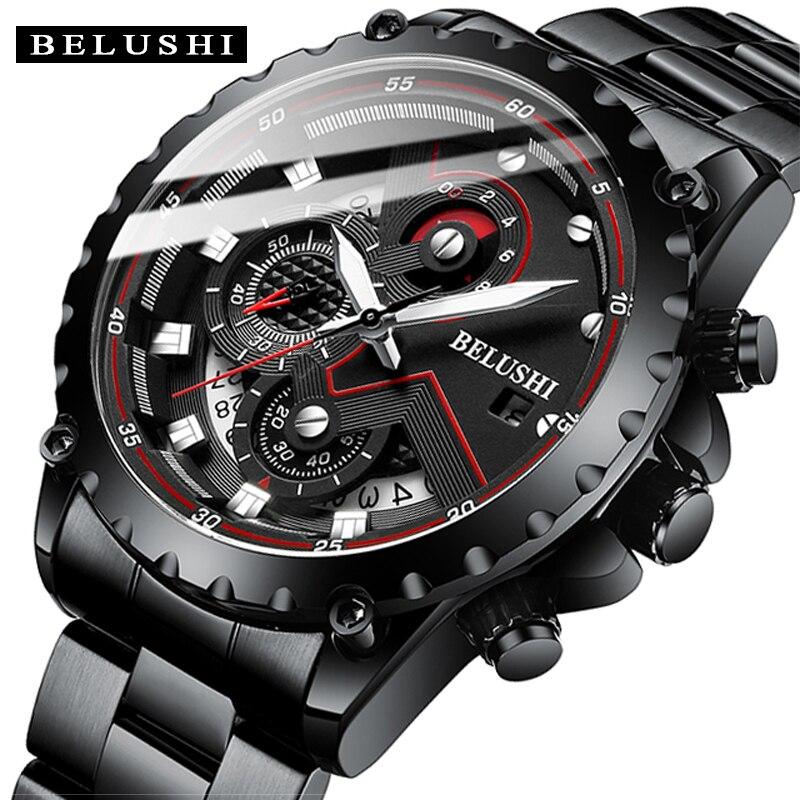 موضة جديدة 2021 رجالي ساعات BELUSHI العلامة التجارية الفاخرة كرونوغراف كامل الصلب مقاوم للماء ساعة كوارتز الرجال تاريخ الرياضة على مدار الساعة