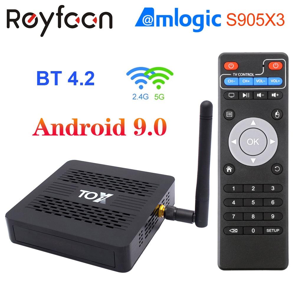 TOX1 Smart Android 9.0 TV Box 4GB 32GB Amlogic S905X3 2.4G 5G Dual Wifi 1000M BT 4.2 4K Media Player