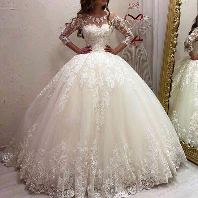 Vestido De novia De manga larga, Vestido De novia con apliques, cola...