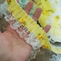 1yards new high quality lace fabric rose flower ribbon tulle guipure sewing trim 4 8cm lace fabric for dress clothes dentelle v1