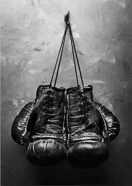 Más estilo guantes de boxeo Vintage lona Estilo nórdico arte película Impresión de seda póster para su decoración de la pared de su hogar 24x36inch