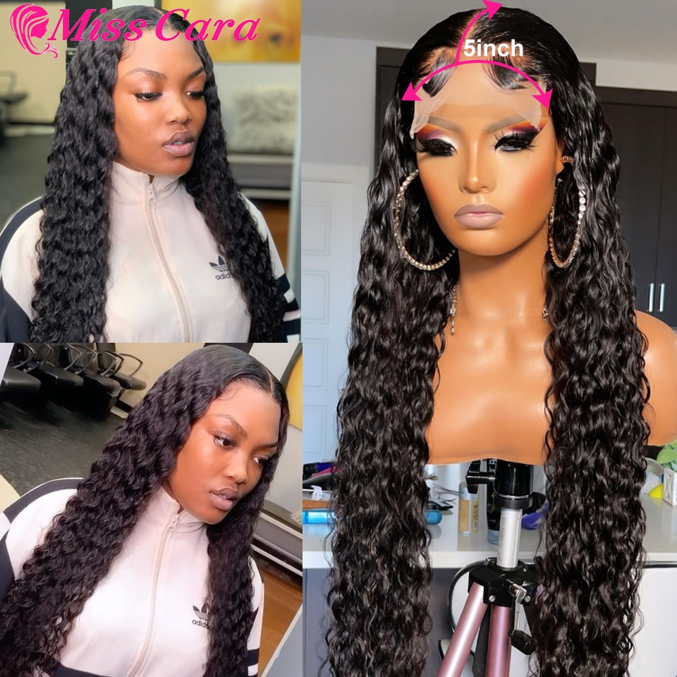 5x5 HD Lace Closure Wig Deep Wave 5x5 Lace Closure Wigs Pre Plucked Bleached Knots T Part Wig 4x4 Lace Wig Deep Wave Frontal Wig
