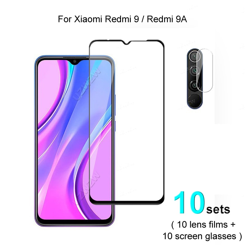 10 sets For Xiaomi Redmi 9 9A Screen Protector Protective Tempered Glass Explosion Proof & Camera Lens Film