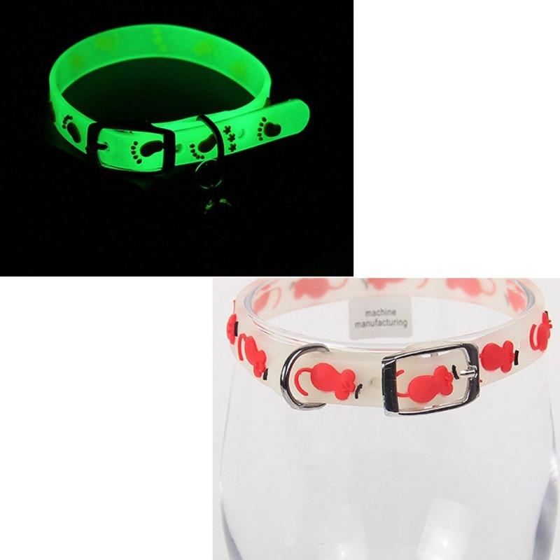 Collar de gatos de 4 unids/lote con campanas brillantes que brillan por la noche Collar de gato Cadena de mascota luminosa anillo de cuello de perro seguridad nocturna