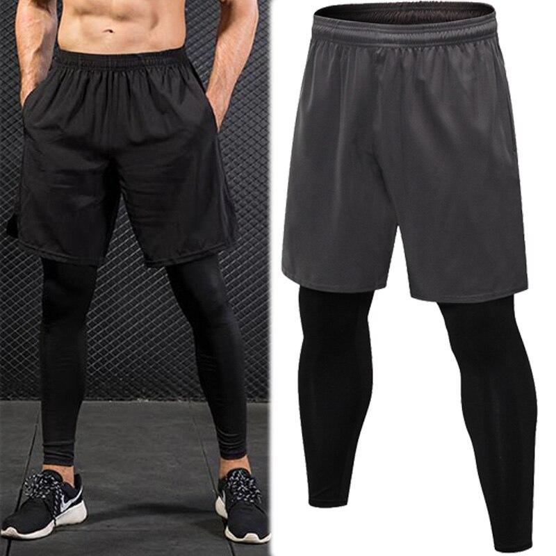 Falso Pantalón ajustado de dos piezas para hombre, pantalones deportivos para correr, Fitness, con cordón, pantalones elásticos de secado rápido, pantalones deportivos para hombre, novedad