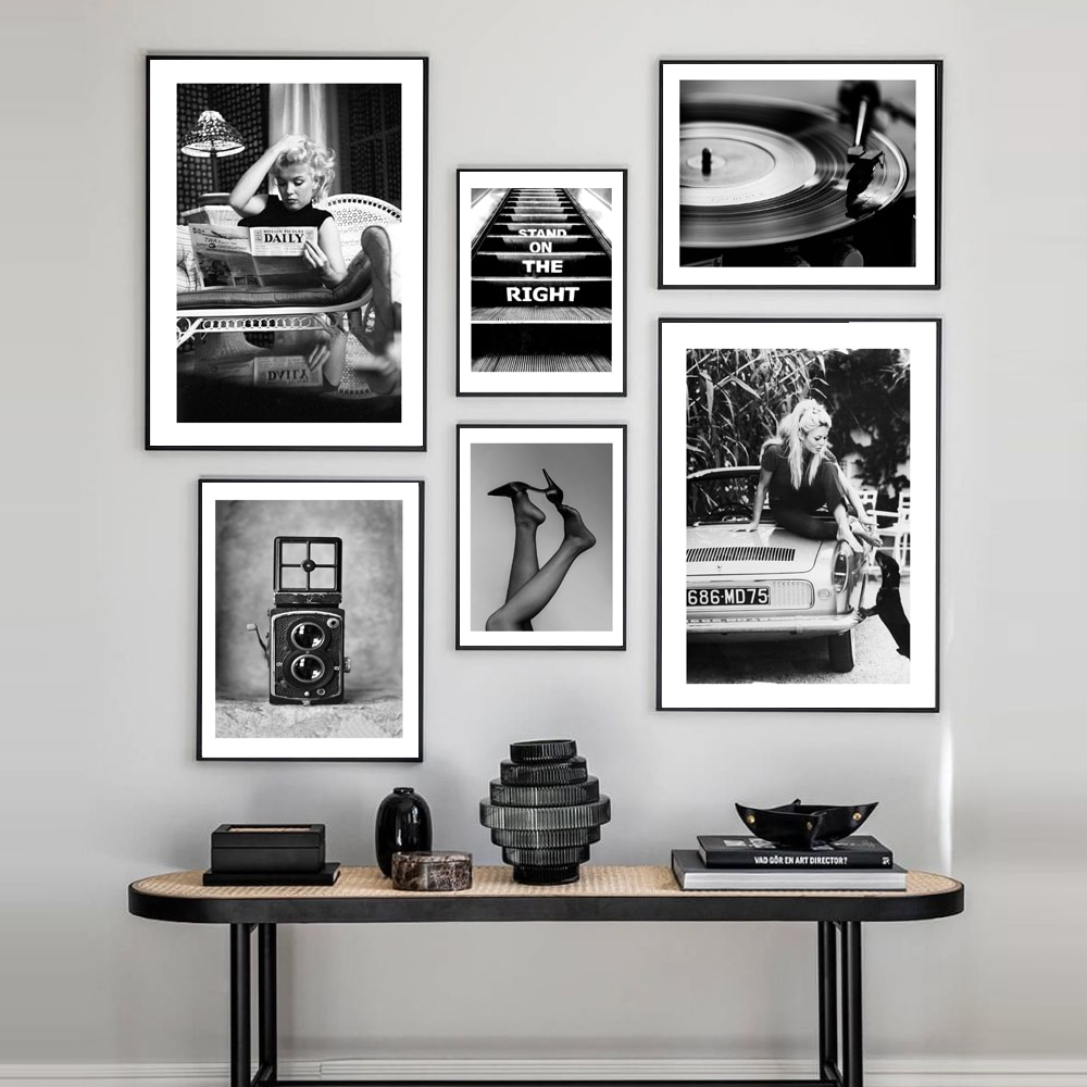 AliExpress - Brigitte Bardot Vintage Camera Wall Art Black White Canvas Painting Nordic Poster and Print Modern Wall Pictures for Living Room