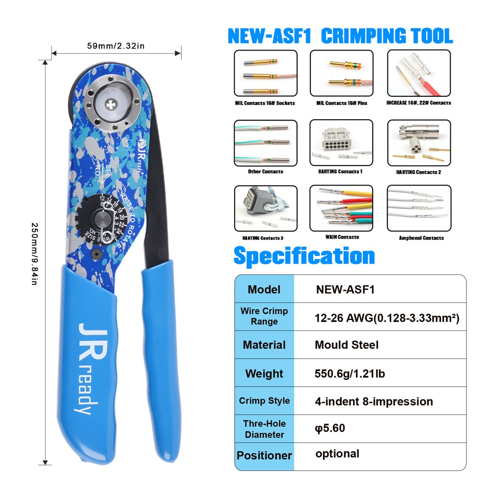 JRready ST2142 Crimping Hand Tool Set NEW-AS1 4-indent Steel Crimper With Universal Adjustable Positioner Support Wire 12-26AW enlarge