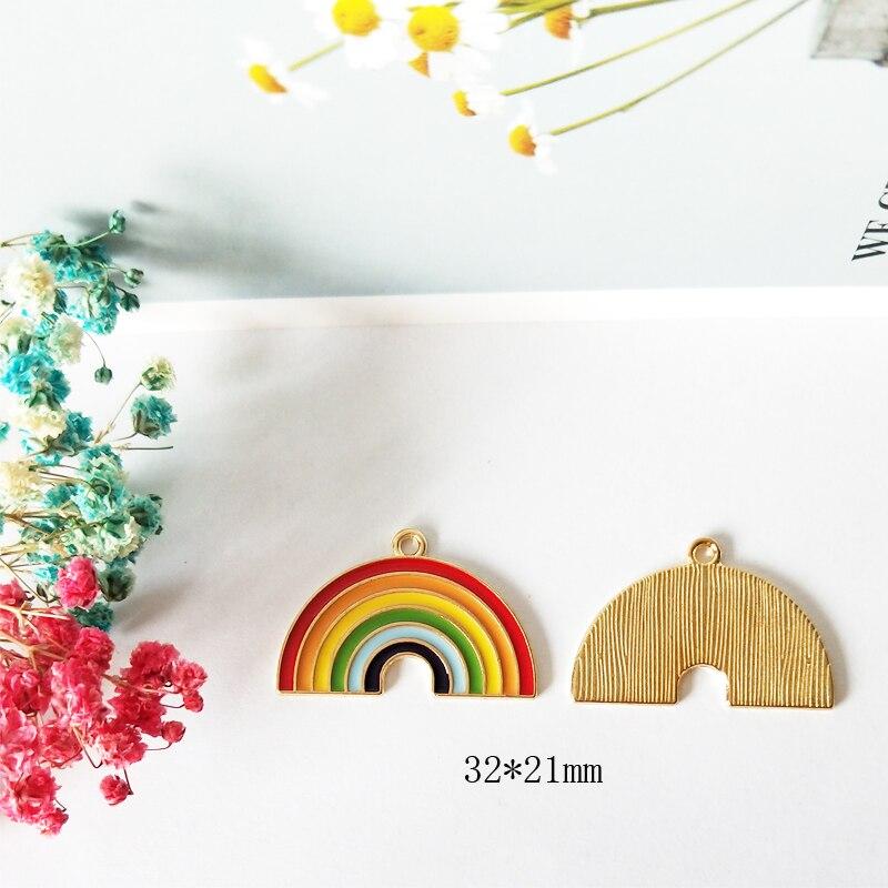 10pcs 32*21mm Liga rainbow encantos pingente de acessórios colar brincos fazer balançar hand-made DIY materiais moda FX125