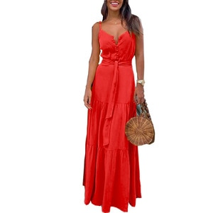 2020 New Women's Dresses Summer New Style Europe And America WOMEN'S Dress Cool Button V-neck Joint Strapped Gowns