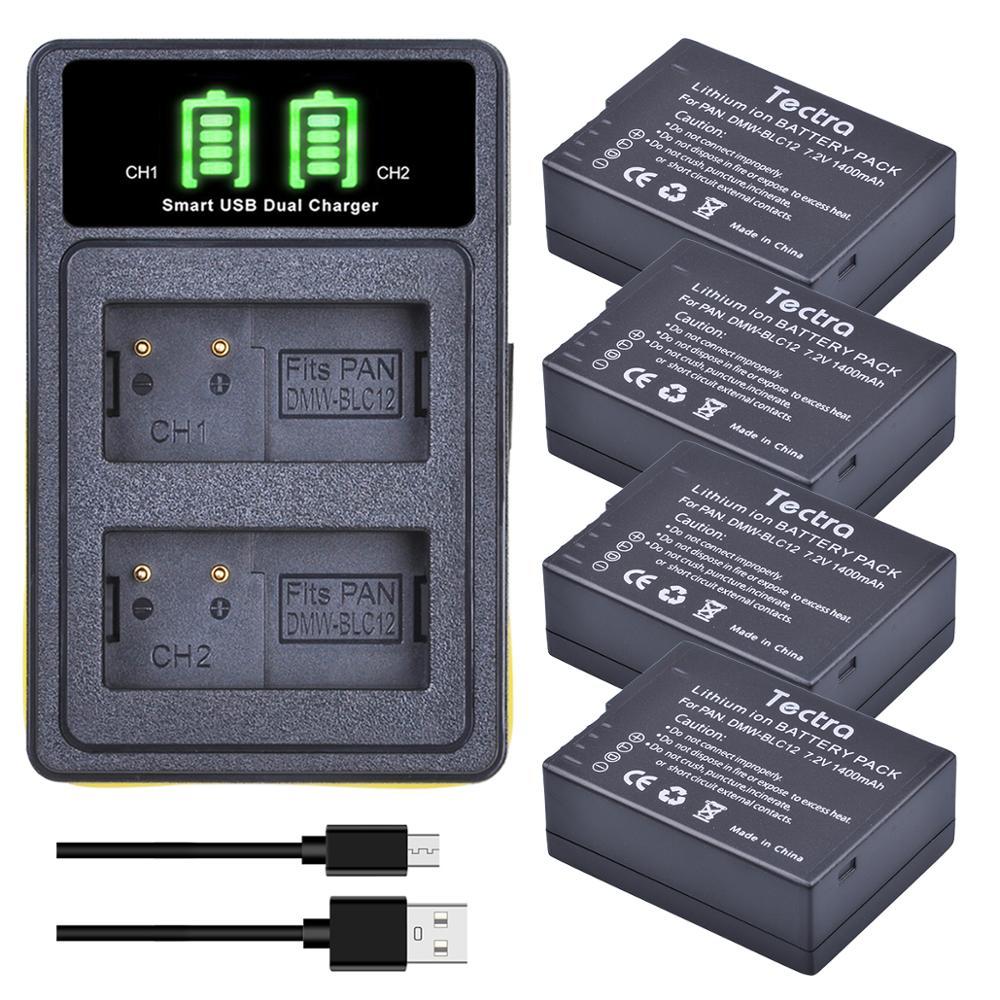4 Uds DMW-BLC12PP BLC12E DMW-BLC12 batería LED Dual cargador para Panasonic Lumix...