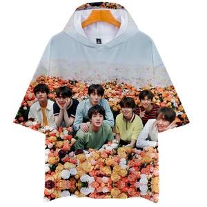 Dropship Harajuku Streetwear 3D Kpop Hooded Shirts Men/Women Short Sleeve Kawaii K-pop Clothes Female Hip Hop Hoodie Tops