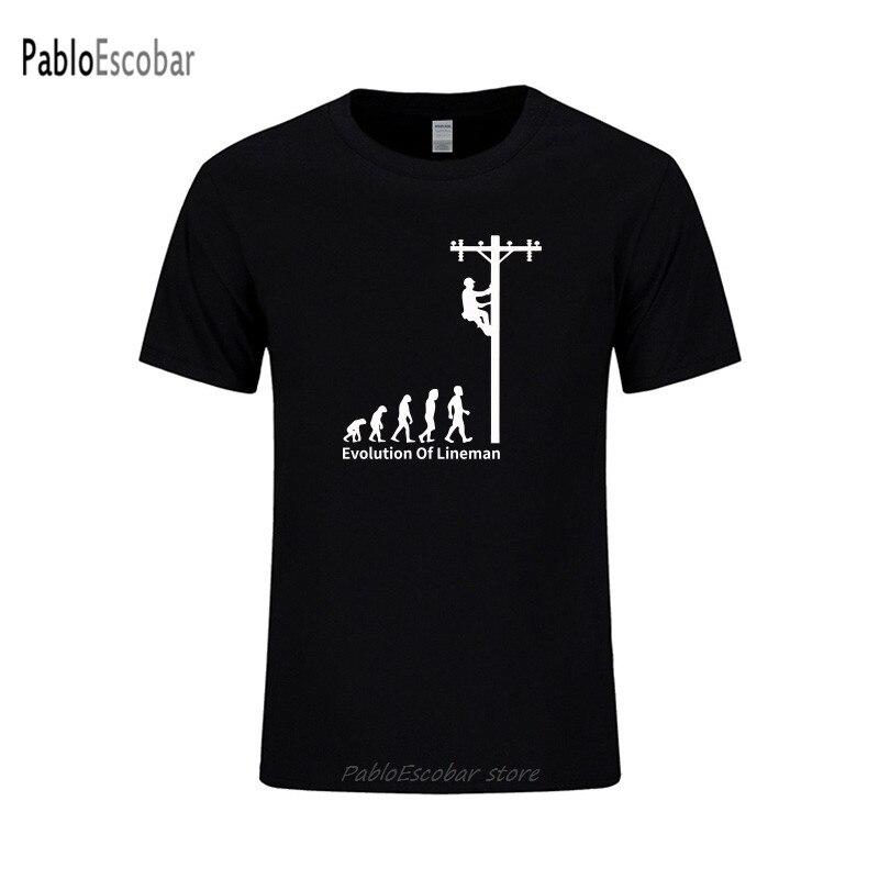 Evolução de lineman camiseta engraçado presente de aniversário para eletricista homem pai pai marido manga curta o pescoço algodão t camisa