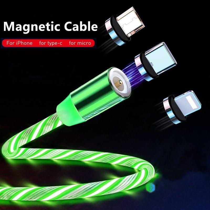 Cable cargador magnético que brilla en el LED, iluminación de carga rápida,...