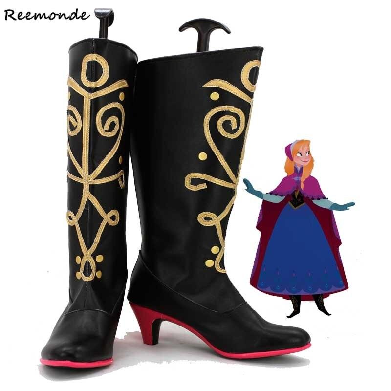 Adulto anna sapatos elsa cosplay rainha elsa sapatos bota princesa menina sapatos de inverno bota halloween hans henri botas altas para mulher