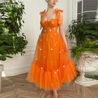 verngo 2021 a line orange tulle short prom dresses with shoulder straps tied flowers butterfly ankle length occasion formal gown