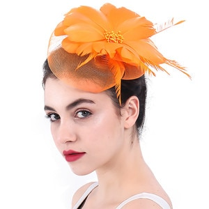 Fancy Feather Flower Vintage Hair Fascinators Hats  Womens Wedding Accessories For Bride Church Party Occasion Races Headdress