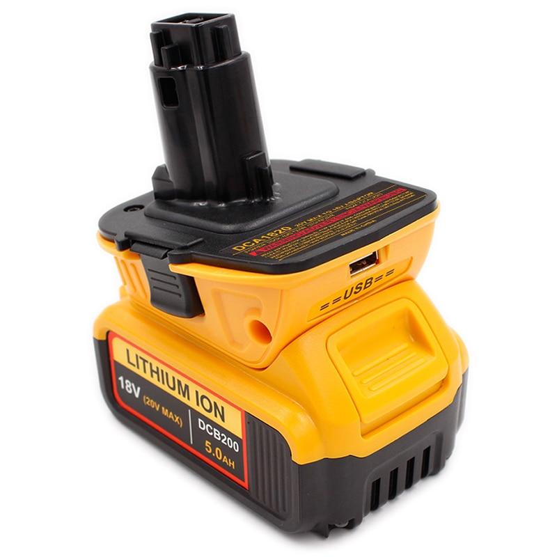 ABKT-para Dca1820 20V 18V adaptador Usb funciona con Max Xr Dcb200 Dcb201 Dcb203 Dcb203Bt Dcb204 Dcb205 Dcb206 batería compacta