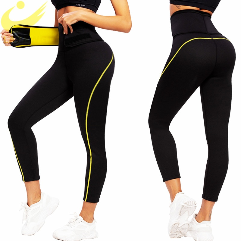 LAZAWG Women's Neoprene Sauna Slimming Pants Gym Workout Hot Thermo Sweat Sauna Capris Leggings Shapers Waist Trainer Pant
