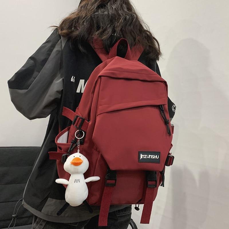 EST 2021 Unisex Backpack Men Shoulders Bagpack Large Capacity Laptop Waterproof Nylon Women Kawaii Duck Pendant Travel Girl Book