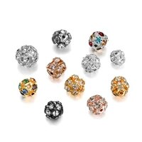 30pcs 6 8 10mm copper plated crystal rhinestone round ball spacer loose beads for jewelry making diy bracelet necklace supplies