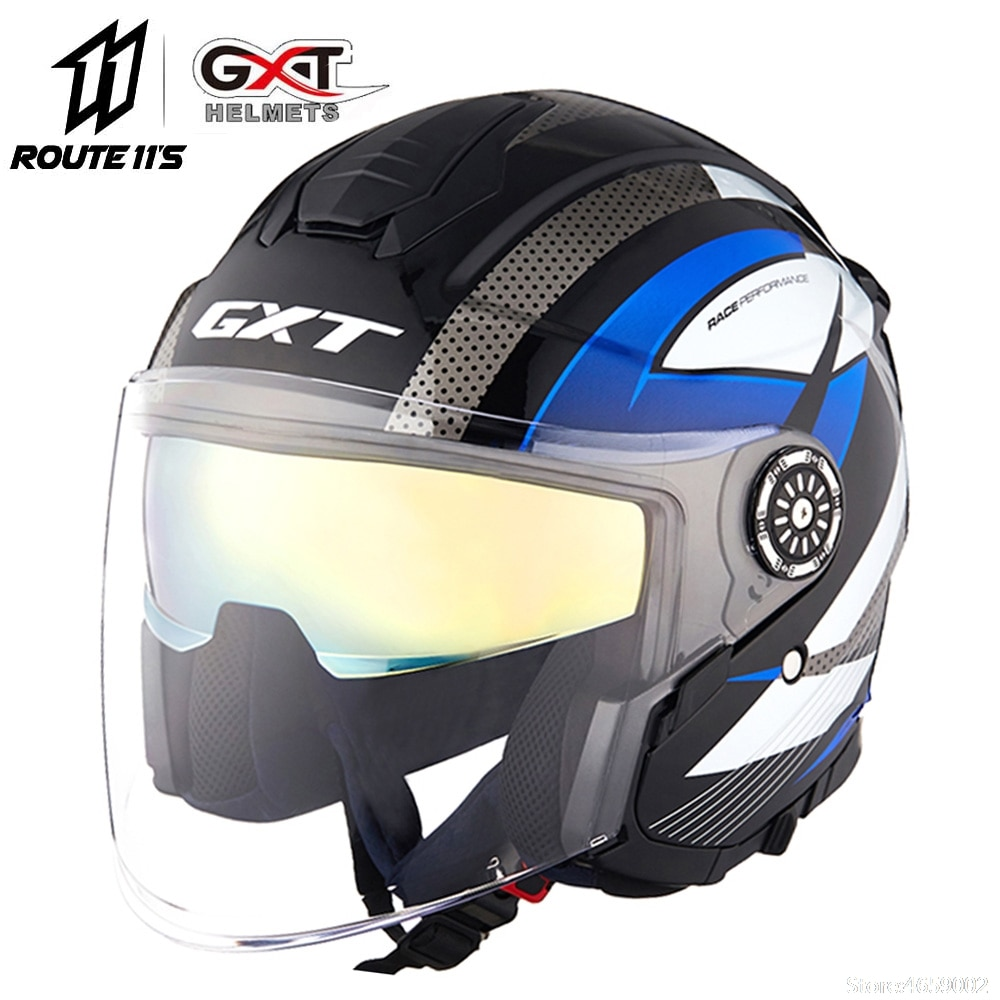 Casco GXT, visores de cara abierta para motocicleta, lente doble, Casco de motocicleta, Casco bicicleta eléctrica, motocicleta, Casco de Moto de verano
