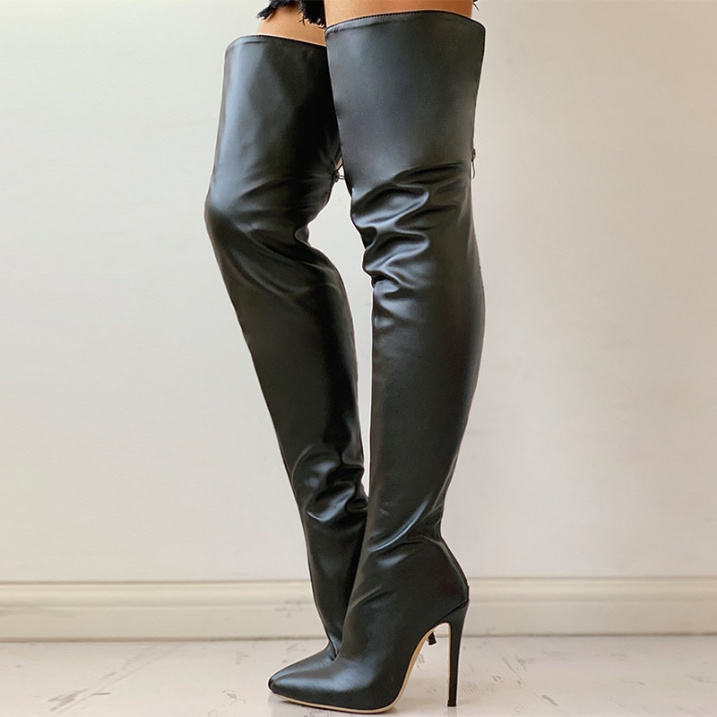 Women's Sexy Long Boots Women Winter Over The Knee Heels Shoes Thigh High Boots New Spring Female Stretch High Heel Plus Size 43 kmeioo shoes woman 2018 winter pointed toe thigh high over the knee women boots stretch suede flat heel tall us size 5 15