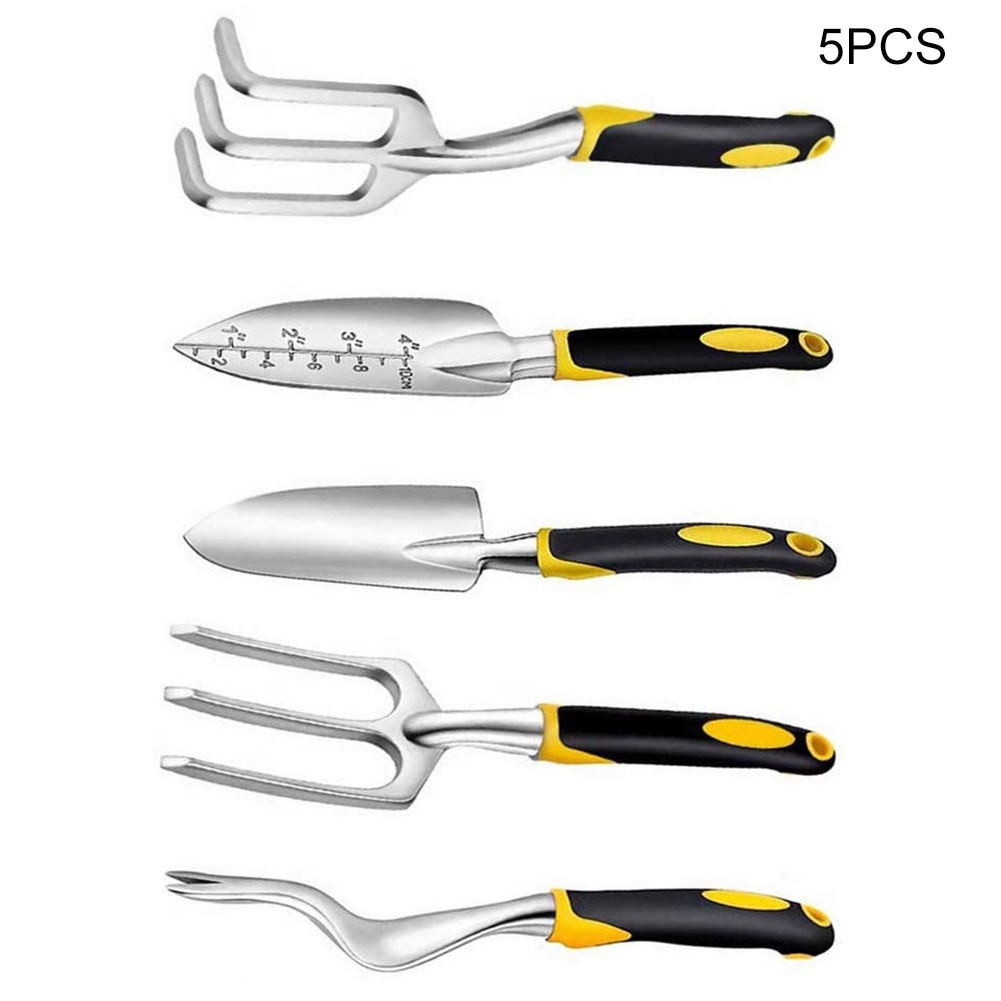 5PCS Gardening Tools Set Non-Slip Hand Tool with Trowel Transplanted Cultivator Weedier Weeding Fork for Garden Plants