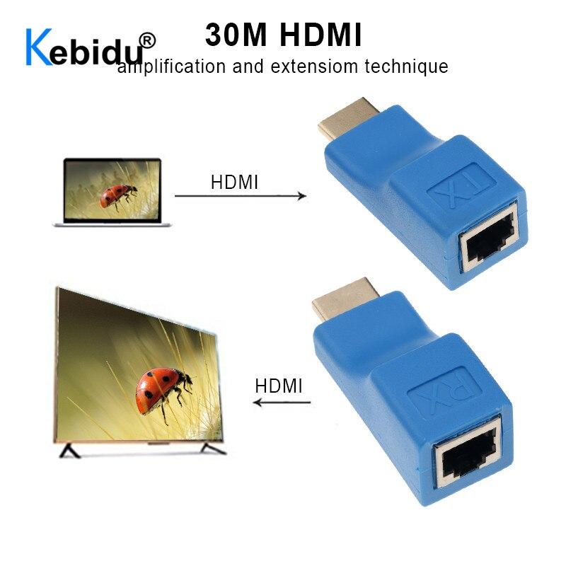 Kebidu 1 par RJ45 puertos Mini 4k HDMI extensor de extensión HDMI a 30m sobre CAT5e Cat6 UTP/STP LAN Ethernet cable para HDTV HDPC