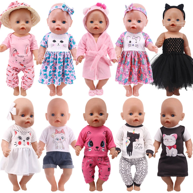 Doll Baby Clothes Kitty Kitten Cat Cartoon Dress Shoes Fit 18 Inch American&43cm Reborn New Born Bab