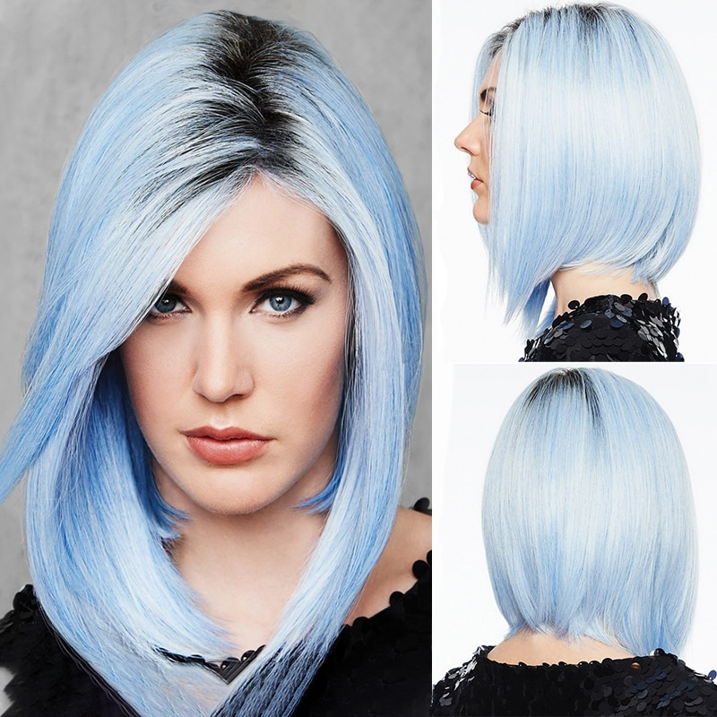 أمير-شعر مستعار صناعي ناعم متوسط ، نمط تأثيري ، ألياف مقاومة للحرارة للنساء ، أزرق