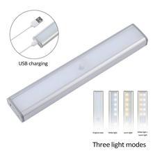 20LED capteur de mouvement placard lumières 3Modes blanc/blanc chaud LED capteur de veilleuse USB Rechargeable sans fil armoire cuisine lumière
