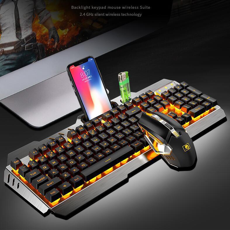 لوحة مفاتيح وماوس ميكانيكي لاسلكي قابل لإعادة الشحن ، كومبو قياسي مع إضاءة خلفية للألعاب ، مقاوم للماء ، r30